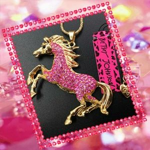 🌟2 for $25 Betsey Johnson Pink Pony Necklace